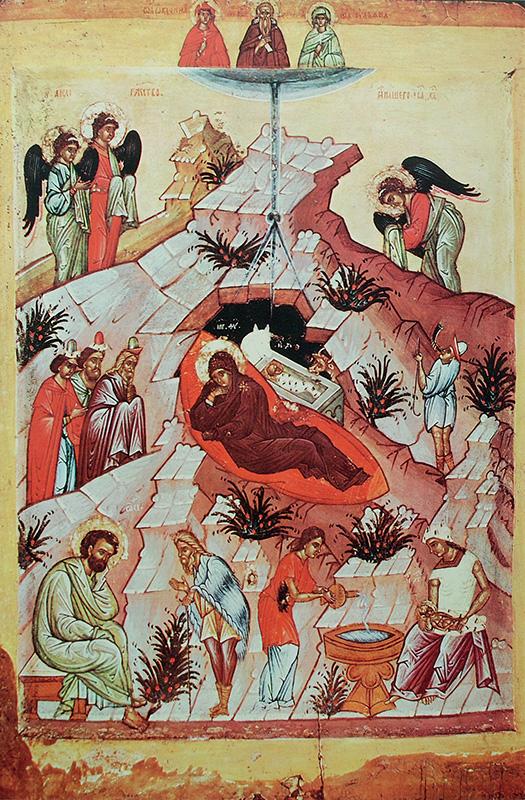 Novgorodi ikonfestő: Jézus születése - XV. század első fele, Tretyjakov-képtár, Moszkva