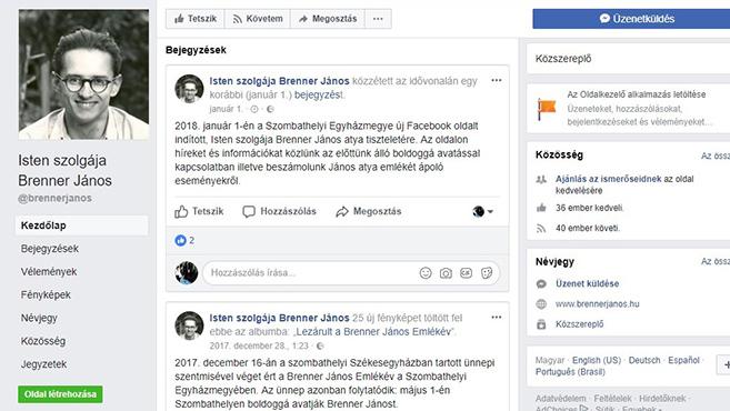 Facebook-oldal indult Brenner János tiszteletére