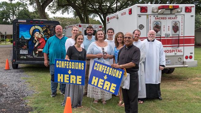 Eucharisztikus felvonulás Louisianában